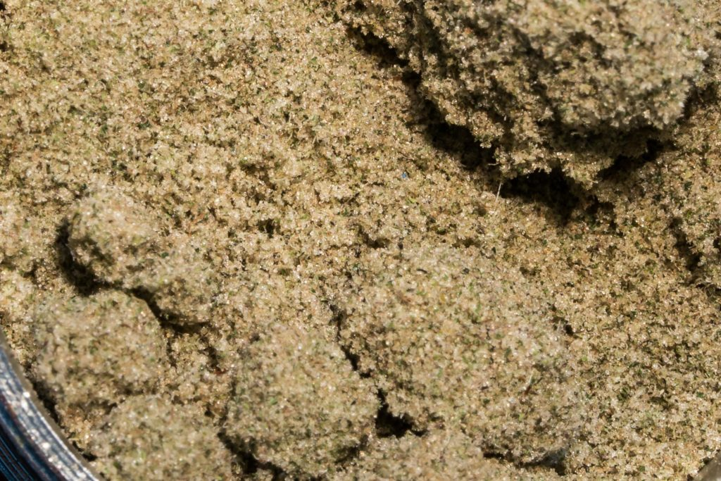Close-up of kief (the dried resinous trichomes of the cannabis plant)