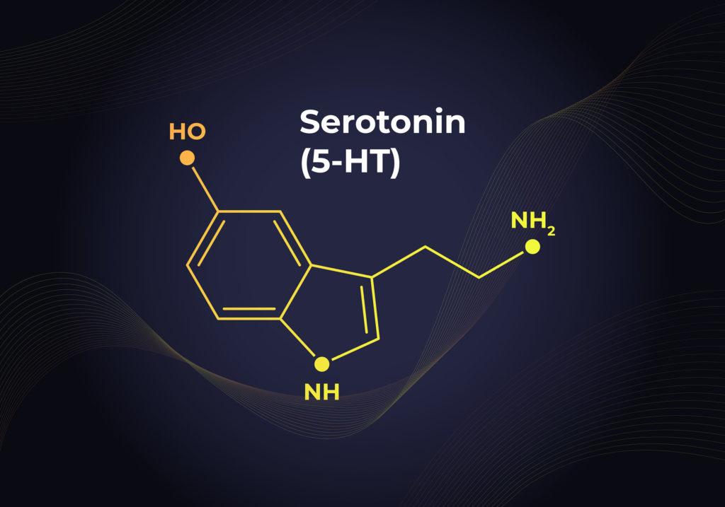 La fórmula química de la serotonina.