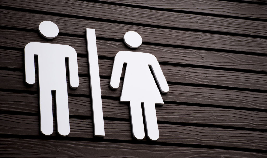 A toilet sign