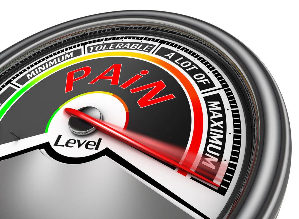 A pain level meter at maximum