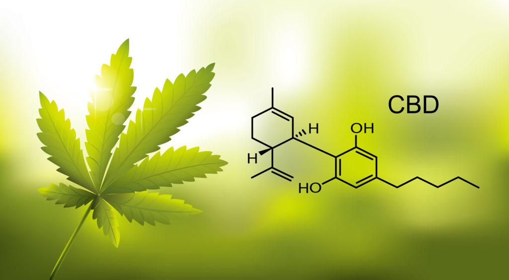 The chemical formula of CBD and a cannabis leaf