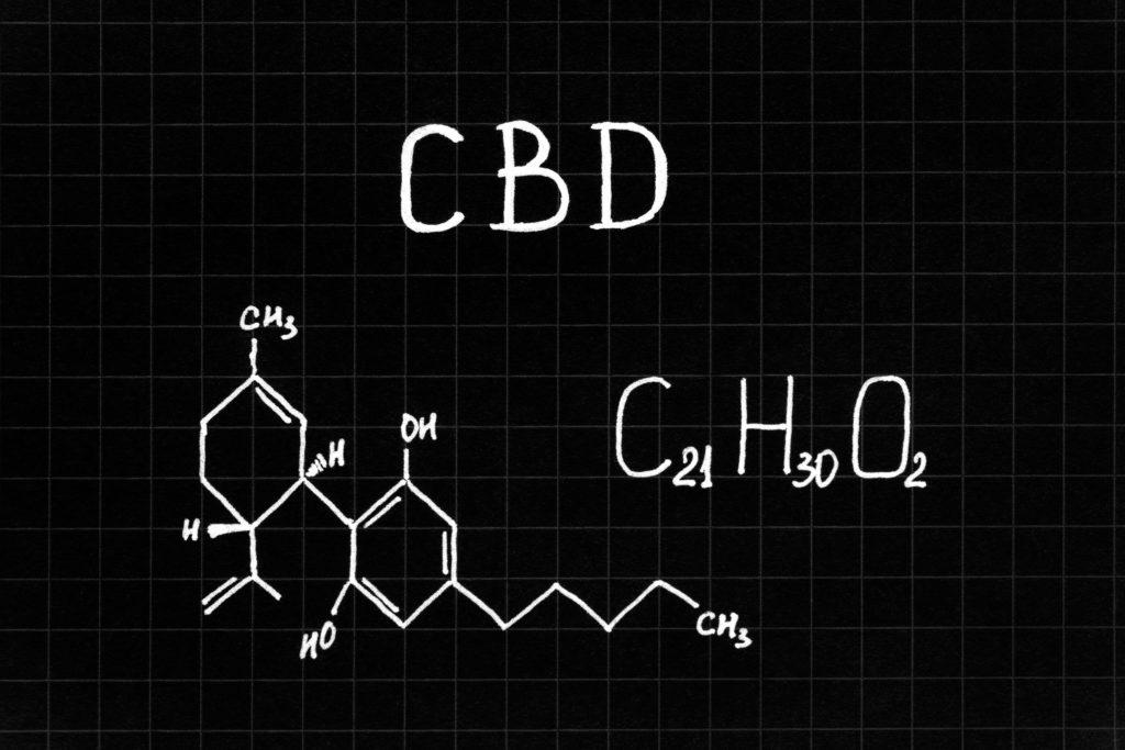 La fórmula química del CBD en blanco en una cuadrícula negra.