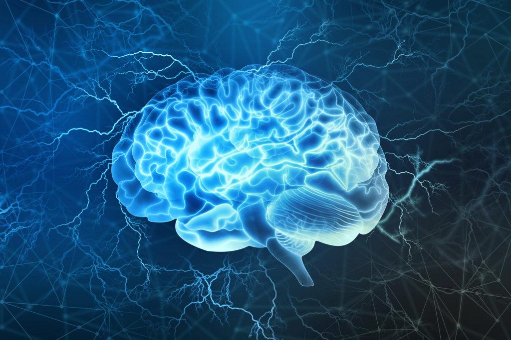Ilustración animada de un cerebro en azul con lightnings en el fondo