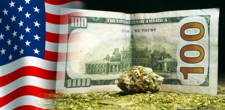 The USA flag, a hundred dollar bill, and a cannabis bud