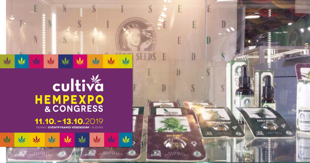 A display with cannabis products at the Cultiva exhibition