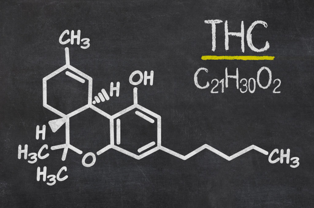 The chemical makeup of THC drawn in chalk on a blackboard