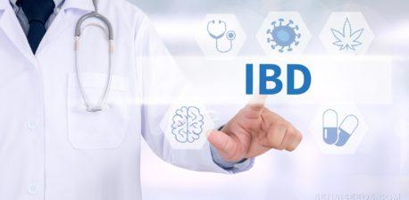 """Una persona en un abrigo blanco y un estetoscopio haciendo clic en el """"IBD"""" escrito"""