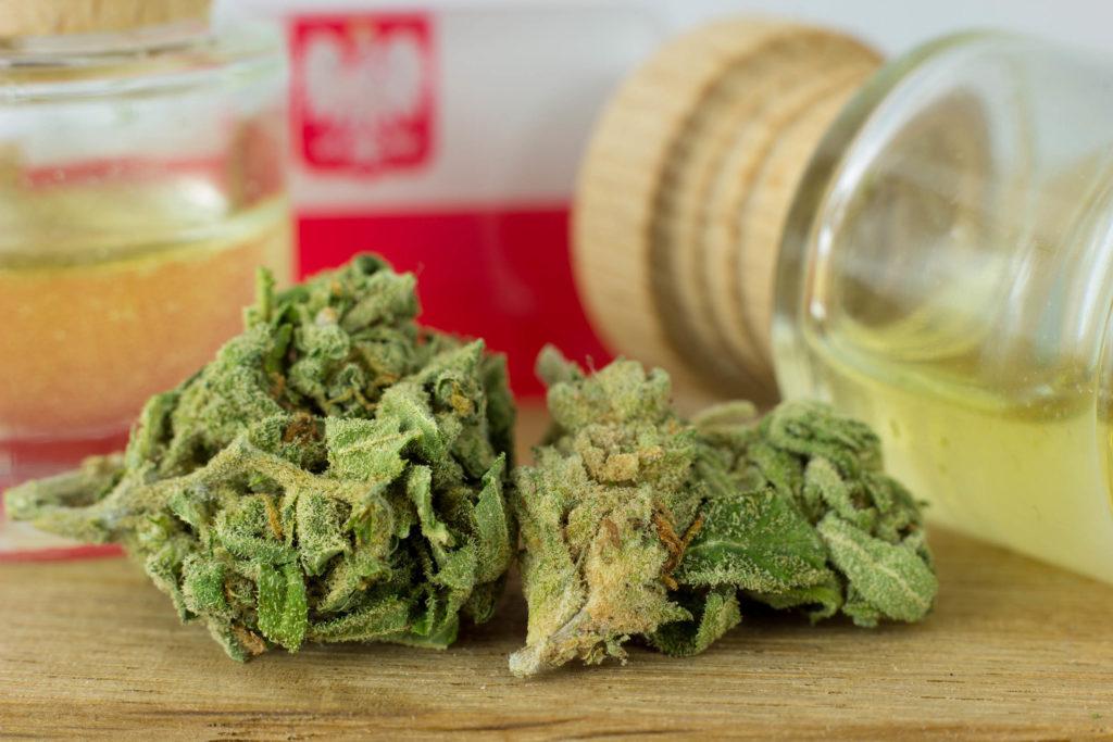 Capádeos de cannabis y frascos de vidrio de aceite de CBD