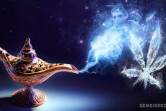 Una lámpara de bronce Genie con humo que viene de ella en forma de una hoja de cannabis.