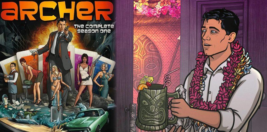 Une affiche pour archer la saison une et un personnage animé portant un collier de fleurs