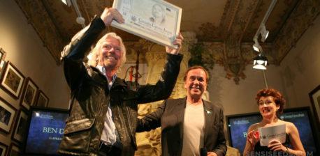 Richard Branson receiving an award at the Cannabis Culture Awards