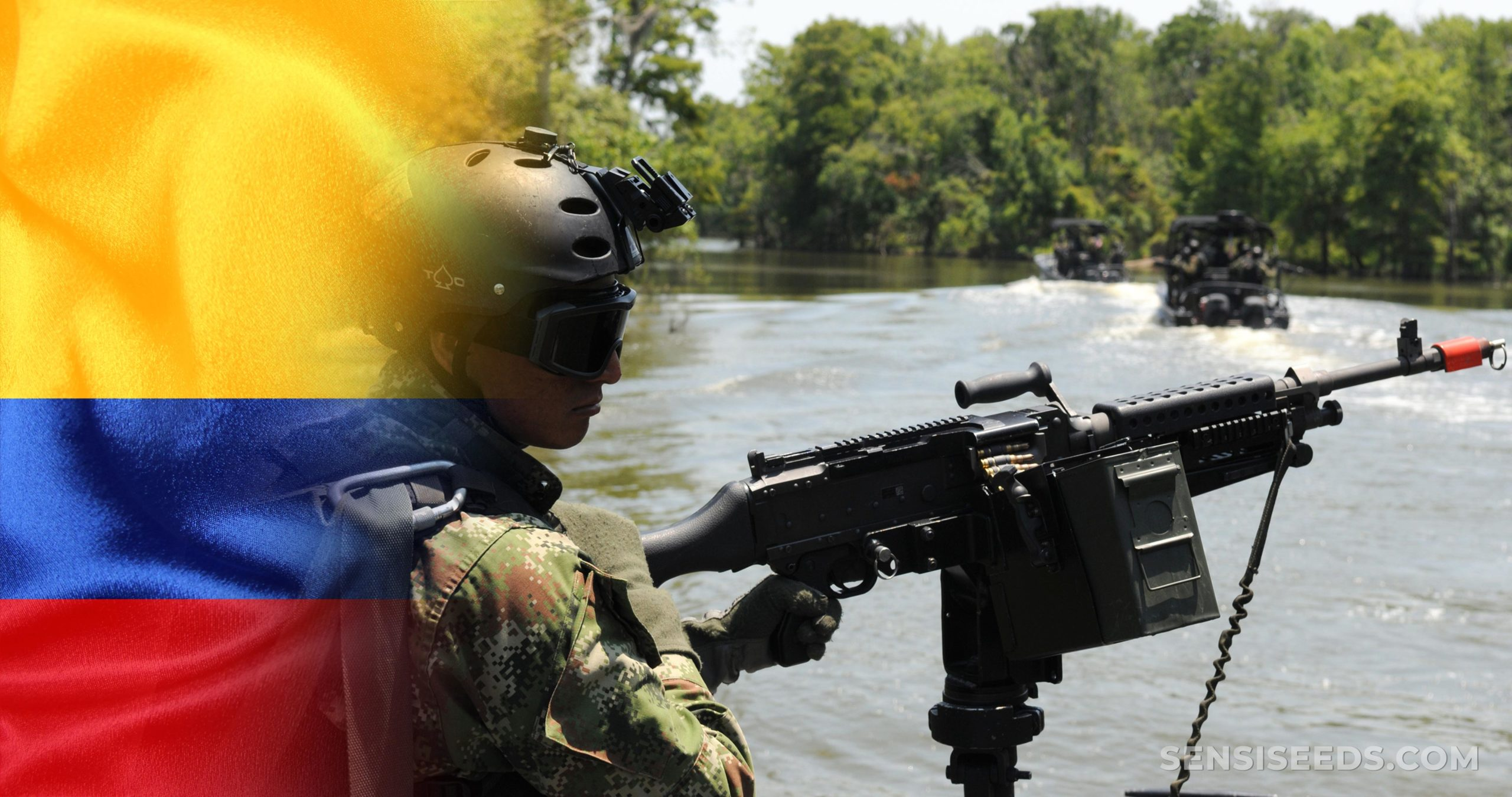 La bandera colombiana y una persona en uniforme militar que sostiene una ametralladora.