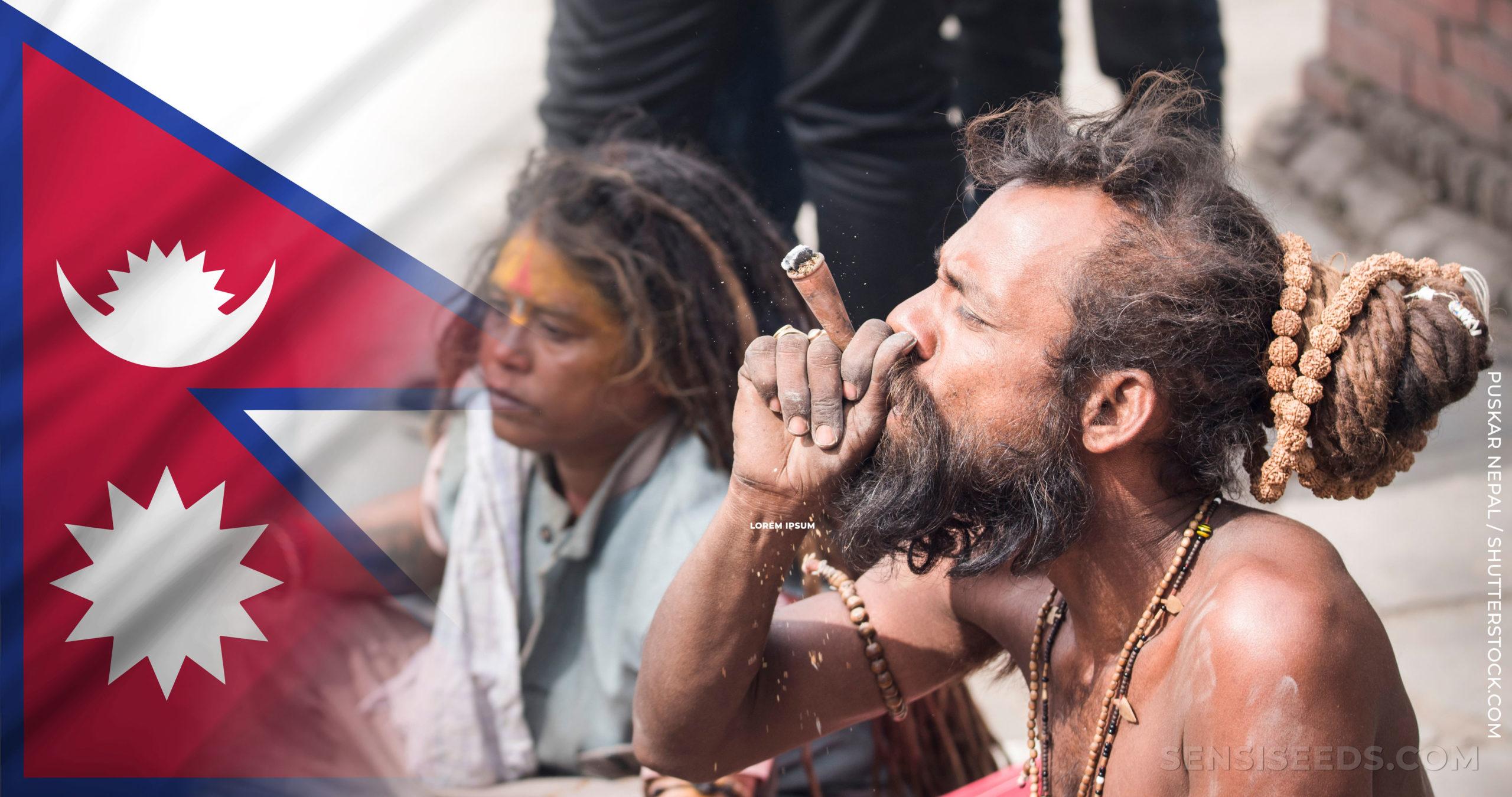 La bandera nepalí y un hombre en topless con una barba fumando una articulación.