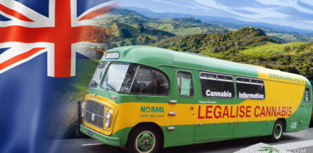 The New Zealand flag and a bus with 'Legalise Cannabis' written on the side