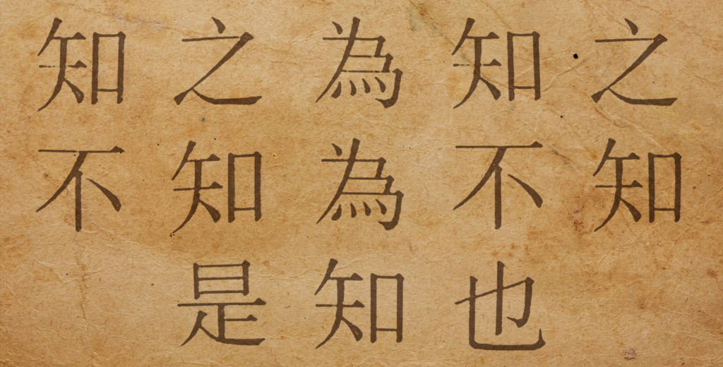 Un proverbio chino en caracteres chinos.