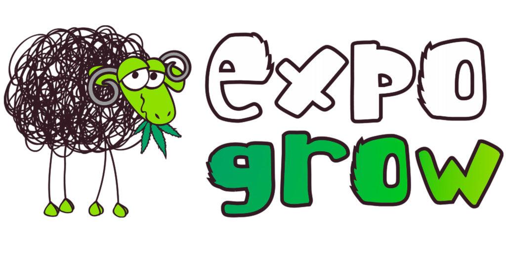 Logo d'expogrow avec un mouton mangeant une feuille de cannabis