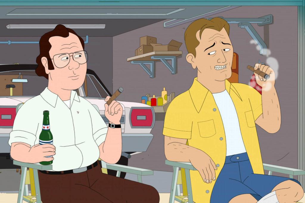 Aún de la historieta animada F es para la familia. Dos hombres están sábados de fumar.