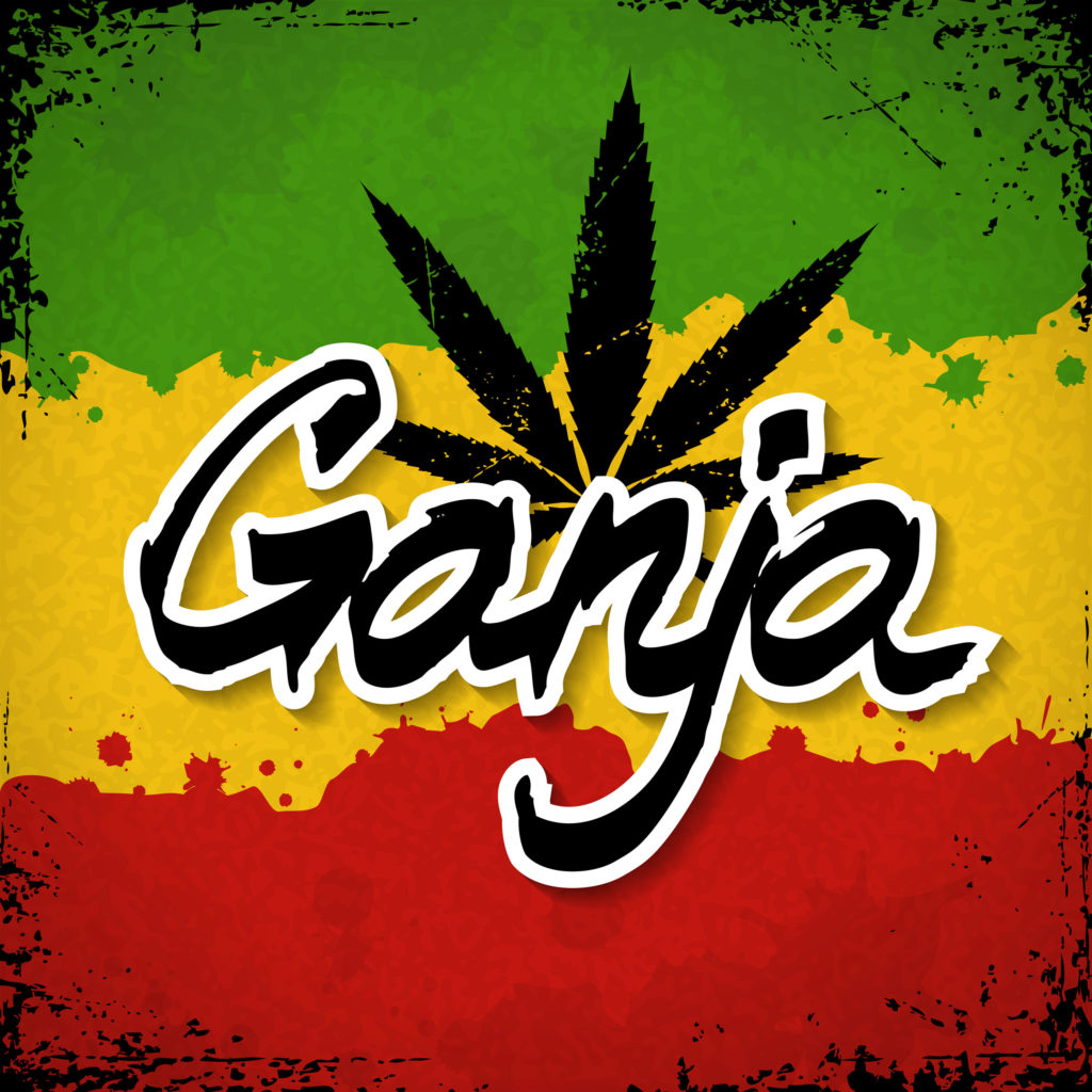 Ganja' outlined in white and a cannabis leaf against a red, yellow, and green flag
