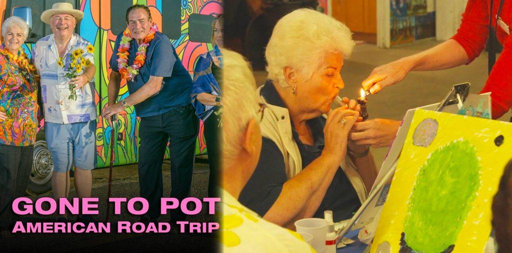 Une affiche pour le spectacle et un encore d'une vieille femme fumant un tuyau
