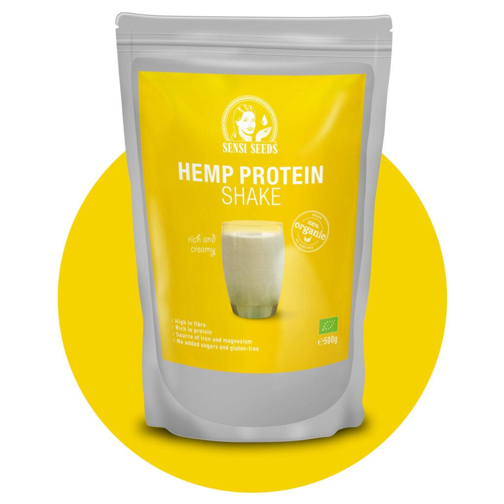 Ein graues und gelbes Paket von Hanfproteinshake mit dem Sensi-Samen-Logo