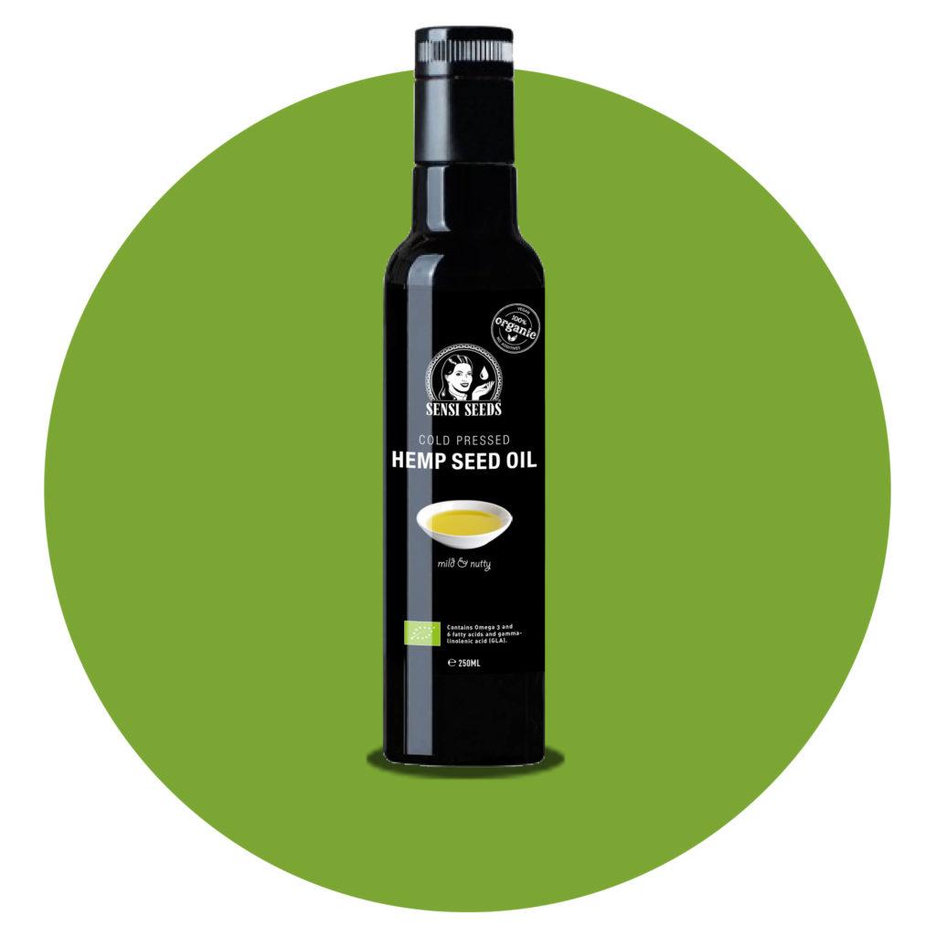 Eine schwarze Flasche Hanfsammelöl mit dem Sensi-Samen-Logo gegen einen grünen Kreis