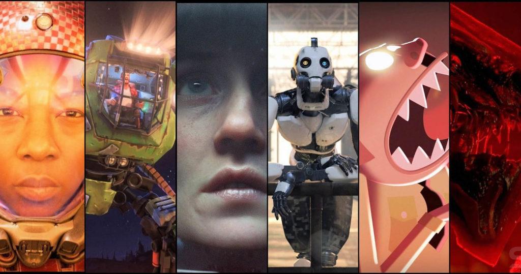 Seis secciones rectangulares con diferentes imágenes de personajes del amor, de la muerte + robots.