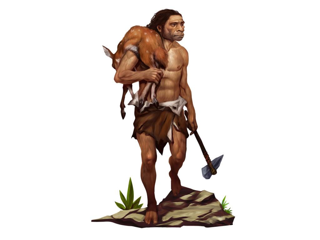 Un homme de Néandertal avec un cerf sur son épaule tenant une arme