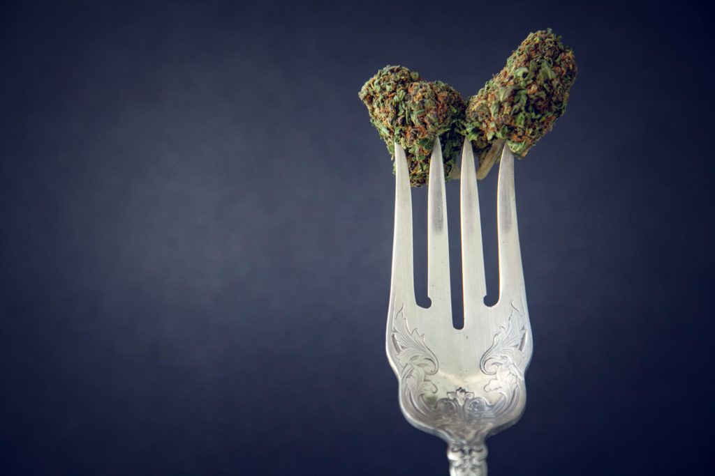 A couple of cannabis buds poked on a fork