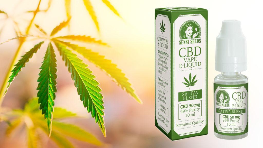 Une bouteille de CBD Vape E-liquide et une feuille de cannabis