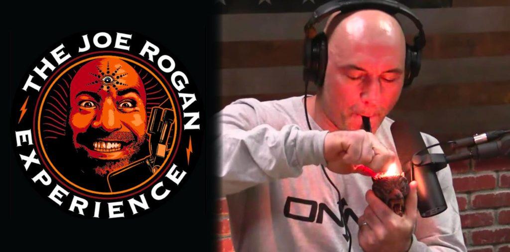 Le logo Joe Rogan et Joe Rogan fumant un tuyau allumé