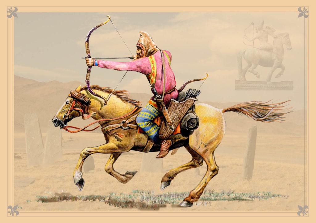 Un scythian con un puente rosado que monta un caballo y sosteniendo un arco y la flecha