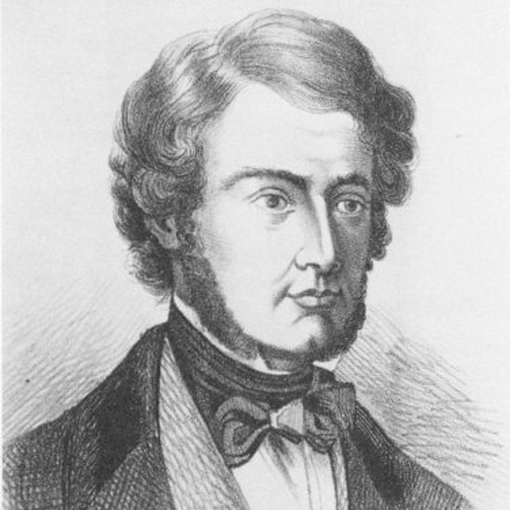 Un portrait de dessin au crayon noir et blanc de William B. O'Shaughnessy