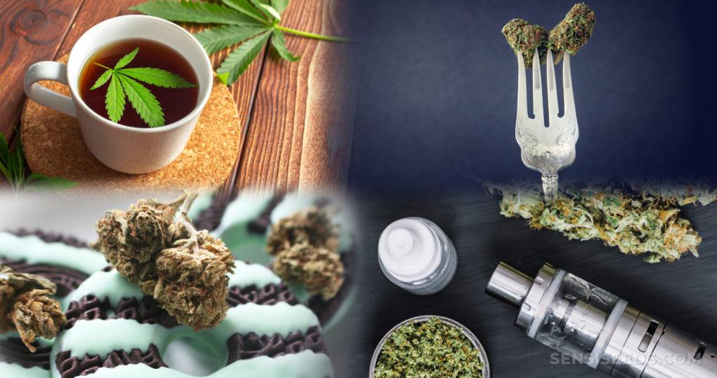 Une tasse de thé, une fourchette, un vaporiseur, un biscuit et du cannabis