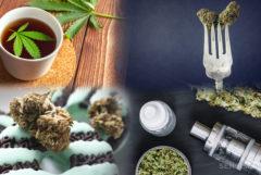 Una taza de té, un tenedor, un vaporizador, una galleta y un poco de cannabis.