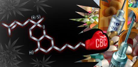 Die chemische Struktur von Cannabichromen und verschiedenen medizinischen Utensilien