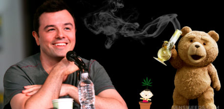 Seth MacFarlane, Stewie from Family Guy and the bear from Ted holding a bong