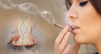 Une femme fumant un joint et deux mains tenant une structure d'ADN