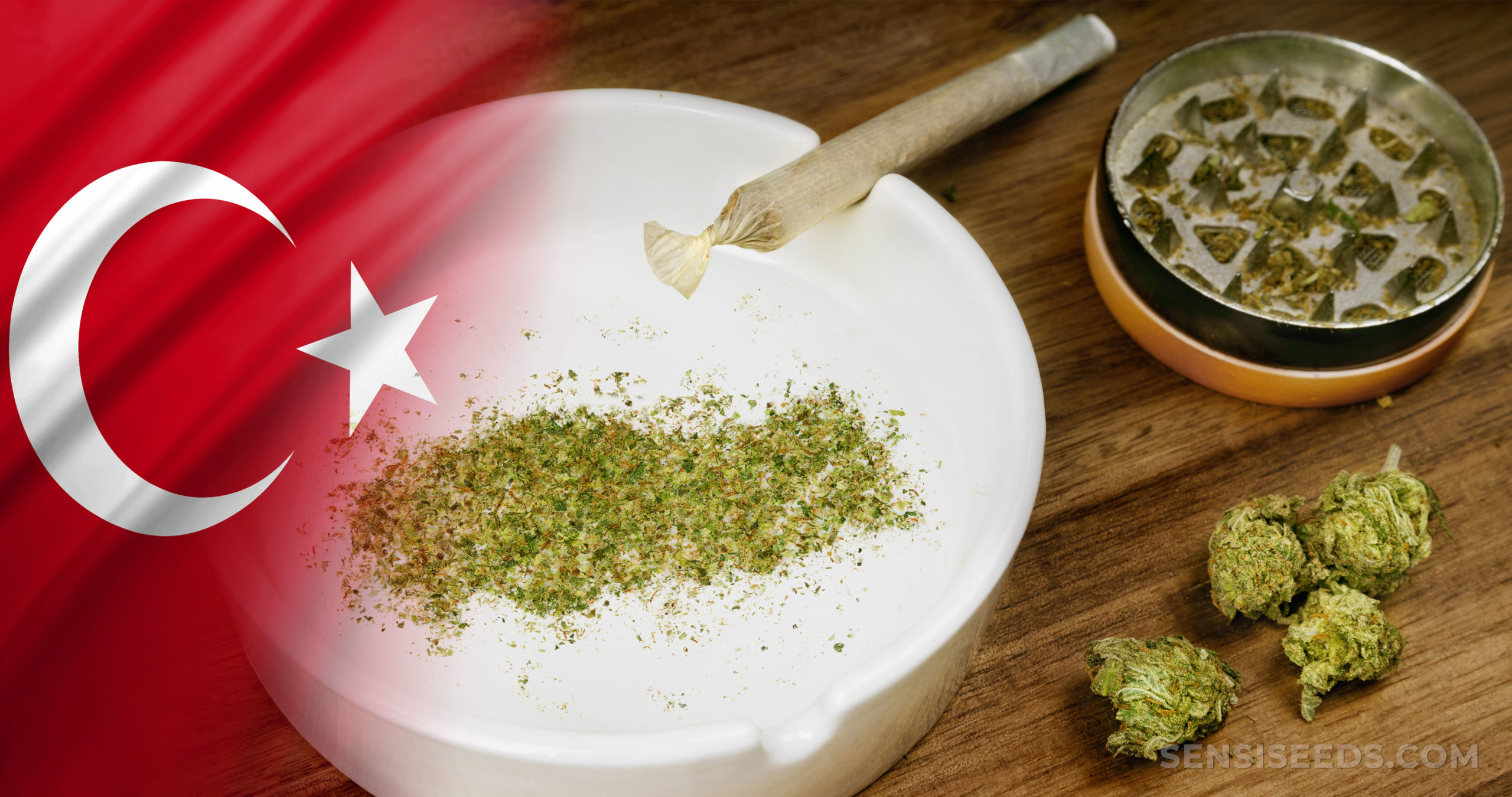 The Turkish flag and cannabis buds and a joint on a table