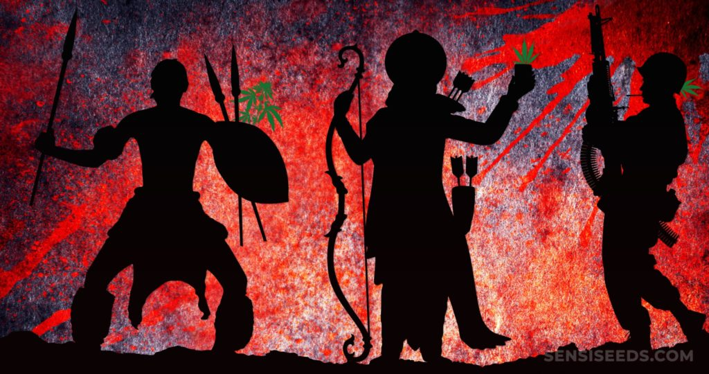 Silhouettes de trois guerriers différents au cours des siècles contre une toile de fond rouge et violet