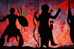 Silhouettes of three different warriors throughout the centuries against a red and purple backdrop