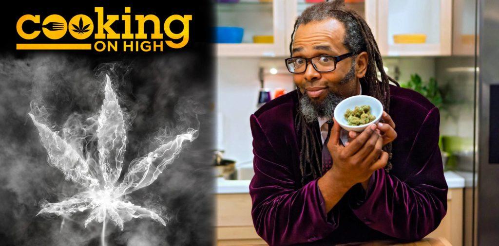Une affiche pour la cuisson sur haut et un présentateur tenant un bol de cannabis