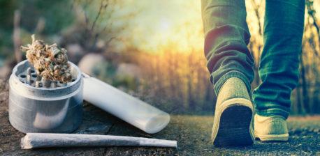 Eine Person, die draußen, eine Mühle mit Cannabisknospe, Gelenk und Feuerzeug geht