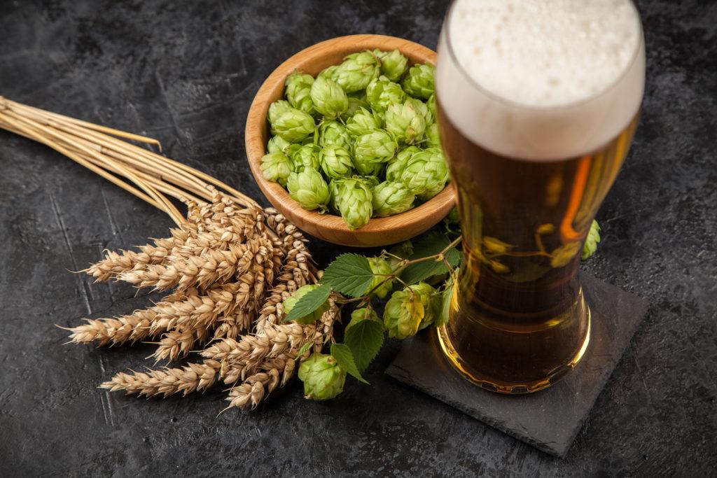 Una pinta de cerveza al lado de un tazón de saltos.