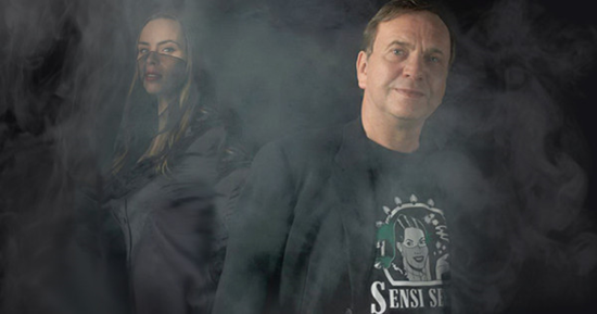 Ben Dronkers and his daughter, Shiva Spaarenberg. There is a thin veil of smoke in front