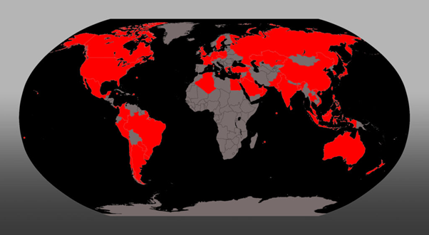 A black and grey map of the world with certain areas highlighted in red