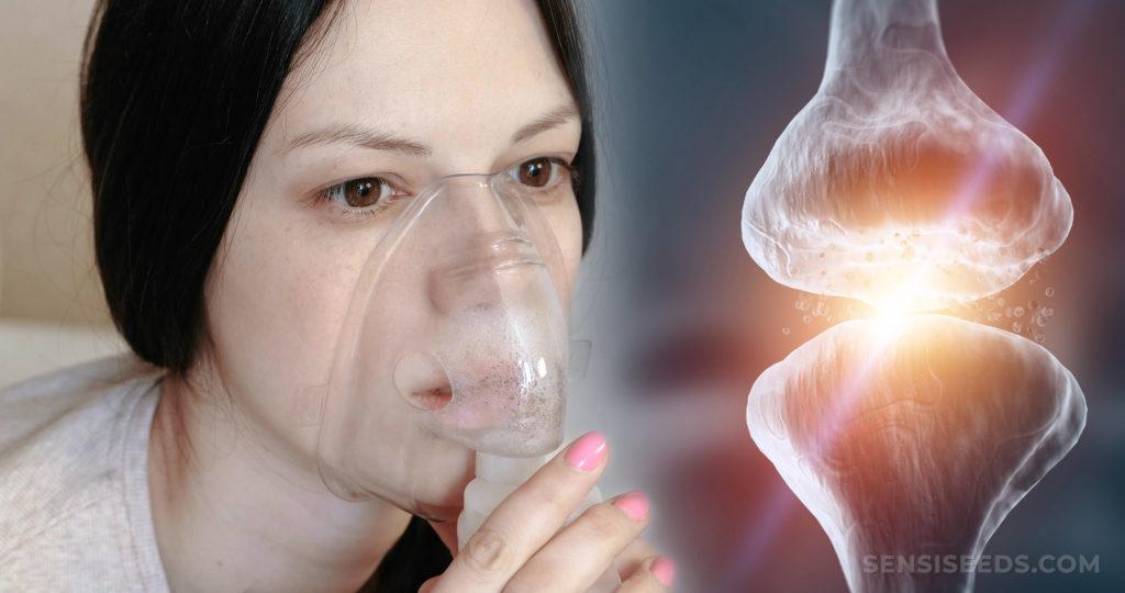Eine blasse Frau, die in eine Sauerstoffmaske und ein Gelenk atmet, wo sich zwei Knochen treffen