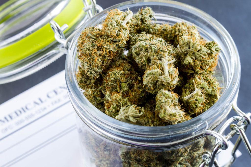 Cannabis buds in a glass jar