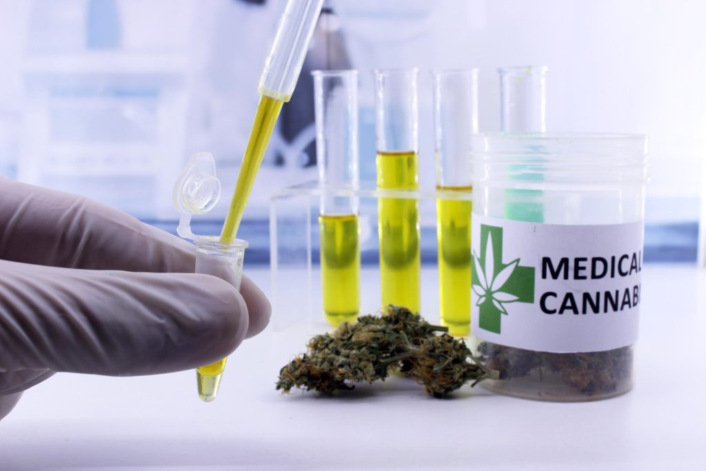 A pot of medical cannabis and four test tubes full of yellow liquid