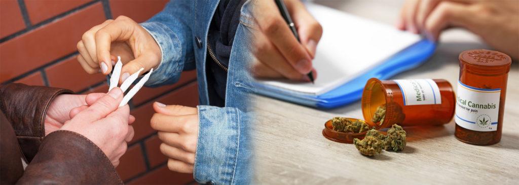 Deux personnes partageant des articulations et un médecin prescrivant des cannabis médicaux