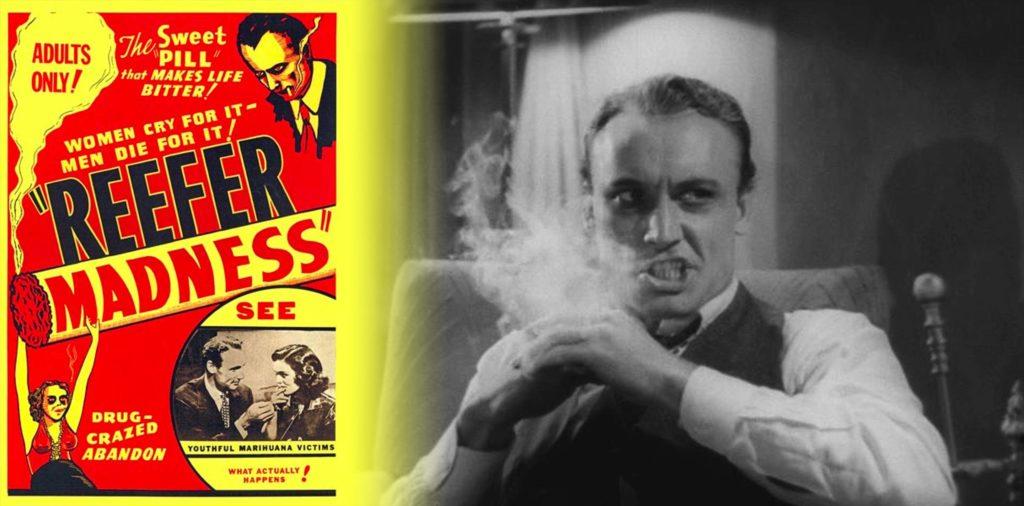 Une affiche de film rouge et jaune pour la folie de Reefer et toujours du film